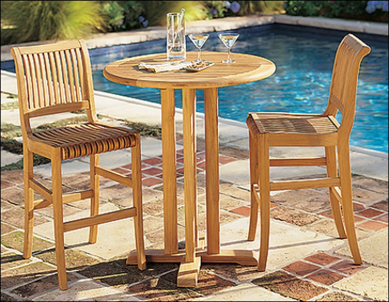 Giva 3 Piece Bar Set - 36\  Round Bar Table With 2 Bar Armless Chairs & TeakStation -: Teak Furniture @ wholesale Prices